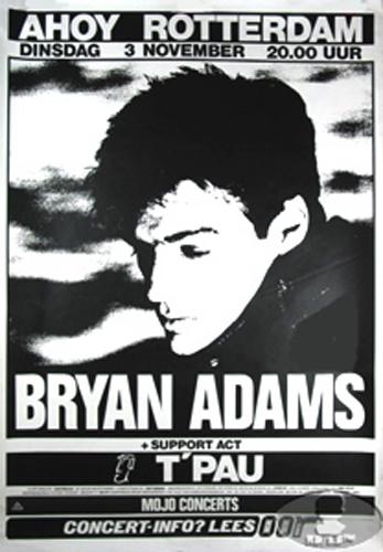 BRYAN ADAMS 1987 TOUR CONCERT POSTER T'PAU