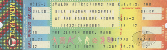 ALLMAN BROTHERS BAND 1979 Unused Concert Ticket LOS ANGELES FORUM