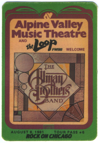 ALLMAN BROTHERS 1981 RADIO PROMO BACKSTAGE PASS LOOP Chicago