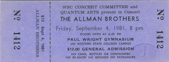 ALLMAN BROTHERS BAND 1981 Tour Unused Concert Ticket