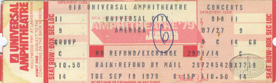 AMERICA 1979 TOUR UNUSED CONCERT TICKET BUNNELL BECKLEY