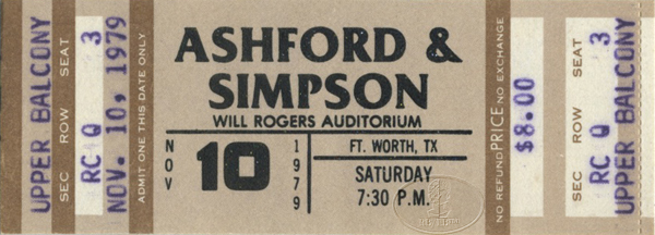 ASHFORD & SIMPSON 1979 Unused Concert Glitter Ticket