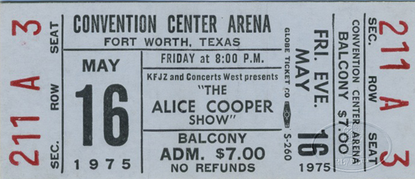 ALICE COOPER 1975 WELCOME TO MY NIGHTMARE UNUSED CONCERT TICKET