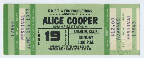ALICE COOPER 1977 SILVER SCREEN UNUSED CONCERT TICKET