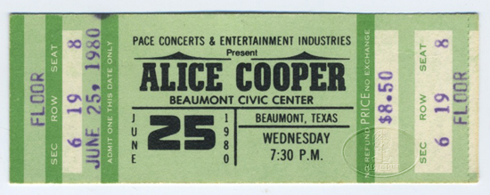 ALICE COOPER 1980 UNUSED CONCERT TICKET Beaumont Texas