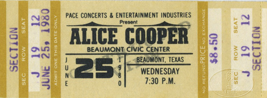 ALICE COOPER 1980 UNUSED CONCERT TICKET Beaumont