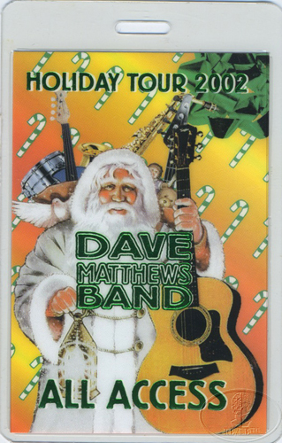 DAVE MATTHEWS 2002 HOLIDAY LAMINATED BACKSTAGE PASS grn