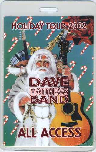 DAVE MATTHEWS 2002 HOLIDAY LAMINATED BACKSTAGE PASS red