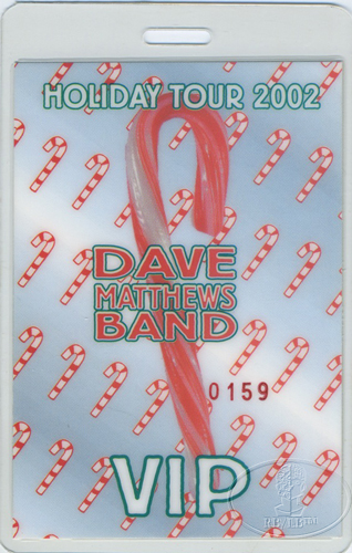 DAVE MATTHEWS 2002 HOLIDAY LAMINATED BACKSTAGE PASS VIP