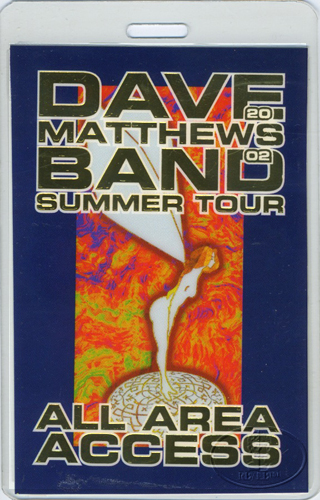 DAVE MATTHEWS 2002 SUMMER LAMINATED BACKSTAGE PASS gold