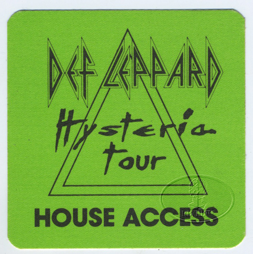 DEF LEPPARD 1988 HYSTERIA BACKSTAGE PASS House green
