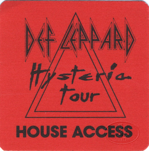 DEF LEPPARD 1988 HYSTERIA BACKSTAGE PASS House red