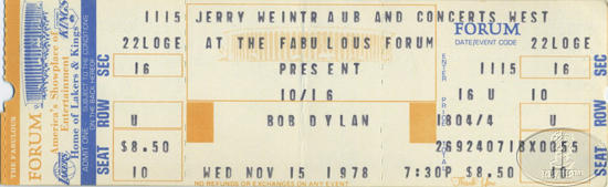 BOB DYLAN 1978 Unused Concert Ticket L.A. FORUM
