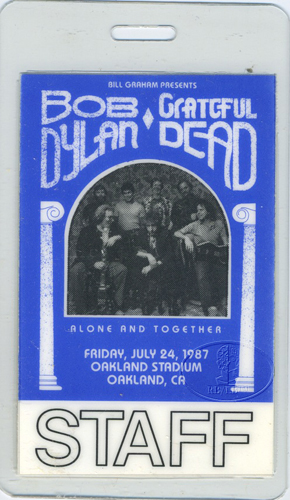 BOB DYLAN & GRATEFUL DEAD 1987 LAMINATED BACKSTAGE PASS