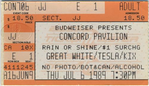 Details about GREAT WHITE Tesla 1989 Tour Concert Ticket Stub KIX