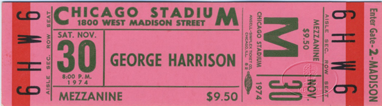 GEORGE HARRISON 1974 TOUR CONCERT TICKET BEATLES Chicago Stadium