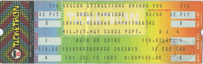 CHUCK MANGIONE 1983 UNUSED CONCERT TICKET
