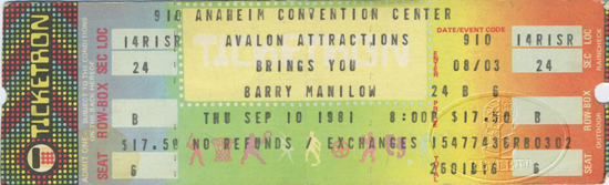 BARRY MANILOW 1981 UNUSED CONCERT TICKET