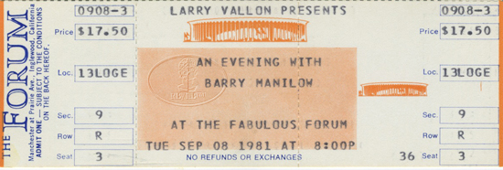 BARRY MANILOW 1981 LOVE AGAIN UNUSED CONCERT TICKET