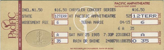 TEENA MARIE 1985 TOUR UNUSED CONCERT TICKET LADY TEE