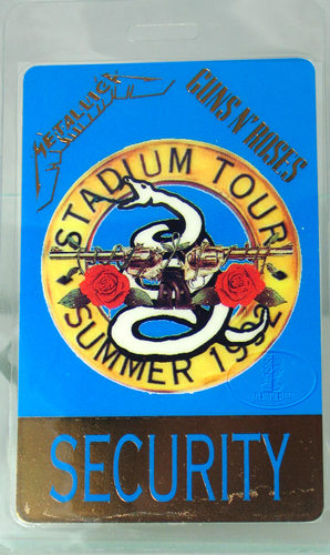 GUNS N ROSES METALLICA 1992 LAMINATED BACKSTAGE PASS