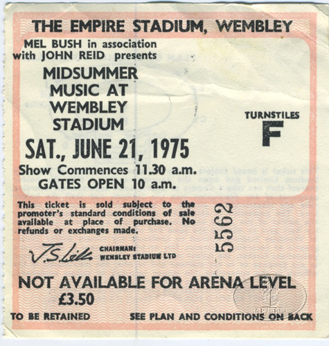 ELTON JOHN 1975 Midsummer Music @ Wembley Ticket Stub Eagles Beach Boys