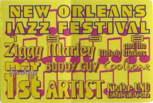 NEW ORLEANS JAZZ FESTIVAL 1998 BACKSTAGE PASS BUDDY GUY ZIGGY MARLEY