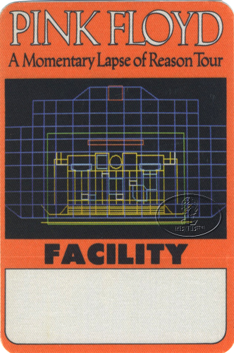 PINK FLOYD 1987 LAPSE OF REASON BACKSTAGE PASS Facility