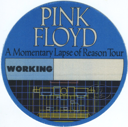 PINK FLOYD 1987 LAPSE OF REASON BACKSTAGE PASS Crew blue