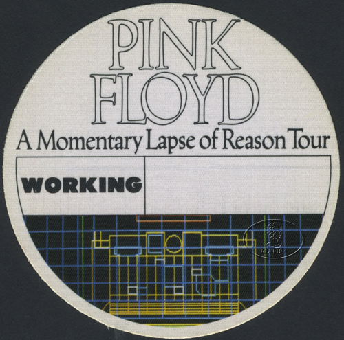 PINK FLOYD 1987 LAPSE OF REASON BACKSTAGE PASS Crew wht