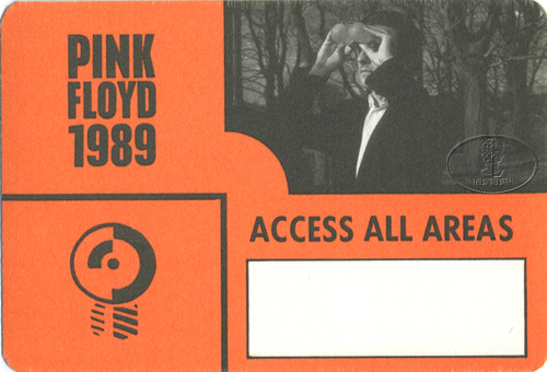 PINK FLOYD 1989 ANOTHER LAPSE BACKSTAGE PASS AAA orange