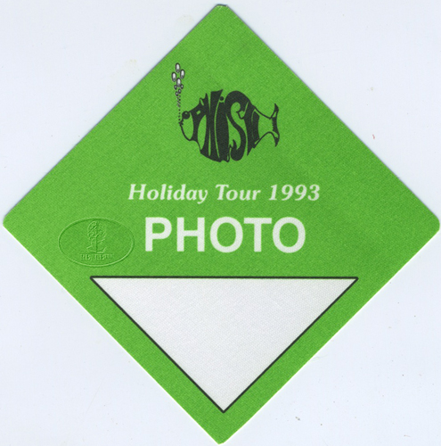 PHISH 1993 HOLIDAY TOUR BACKSTAGE PASS Photo green
