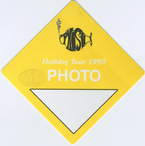 PHISH 1993 HOLIDAY TOUR BACKSTAGE PASS Photo yellow