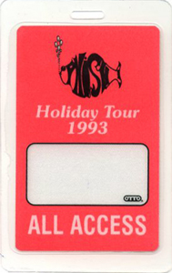 PHISH 1993 LAMINATED BACKSTAGE PASS All Access red