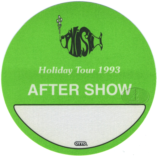PHISH 1993 HOLIDAY TOUR BACKSTAGE PASS ASO green