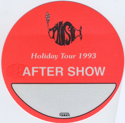 PHISH 1993 HOLIDAY TOUR BACKSTAGE PASS ASO orange