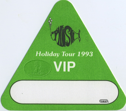 PHISH 1993 HOLIDAY TOUR VIP BACKSTAGE PASS green