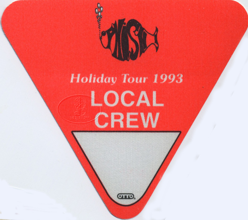 PHISH 1993 HOLIDAY TOUR BACKSTAGE PASS Crew, orange