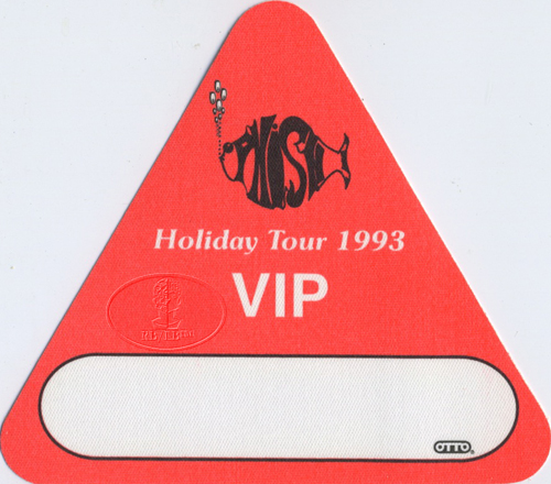 PHISH 1993 HOLIDAY TOUR VIP BACKSTAGE PASS orange