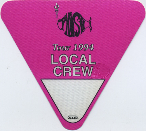 PHISH 1994 TOUR BACKSTAGE PASS Crew