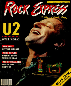 ROCK EXPRESS MAGAZINE 1987 U2 IN LAS VEGAS BONO EDGE
