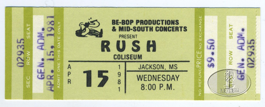 RUSH 1981 MOVING PICTURES TOUR Unused Concert Ticket