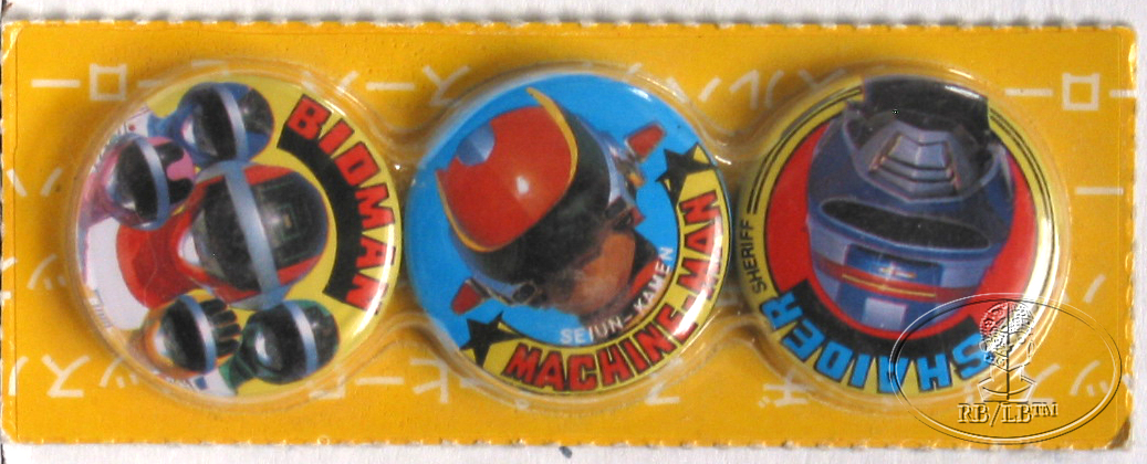 BANDAI Set of 3 PINBACKS SPACE SHERIFF SHAIDER MACHINE-MAN BIOMAN 1980's ANIME
