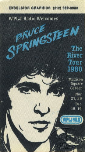BRUCE SPRINGSTEEN 1980 RADIO PROMO BACKSTAGE PASS WPLJ