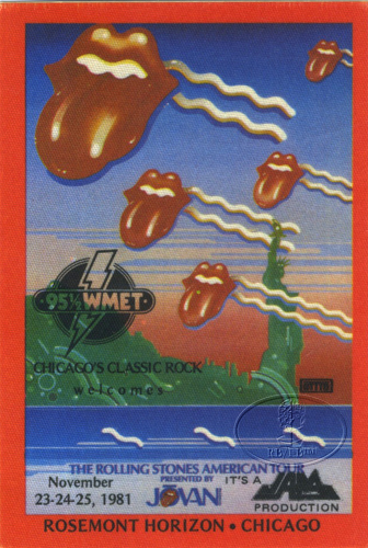 ROLLING STONES 1981 RADIO PROMO BACKSTAGE PASS WMET Rosemont Horizon
