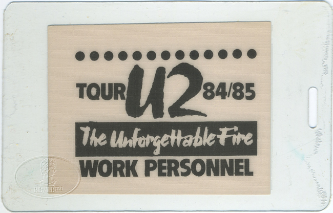 U2 1985 UNFORGETTABLE FIRE LAMINATED BACKSTAGE PASS