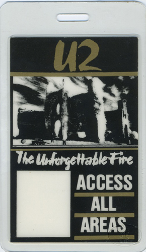 U2 1984-1985 UNFORGETTABLE FIRE LAMINATED BACKSTAGE PASS
