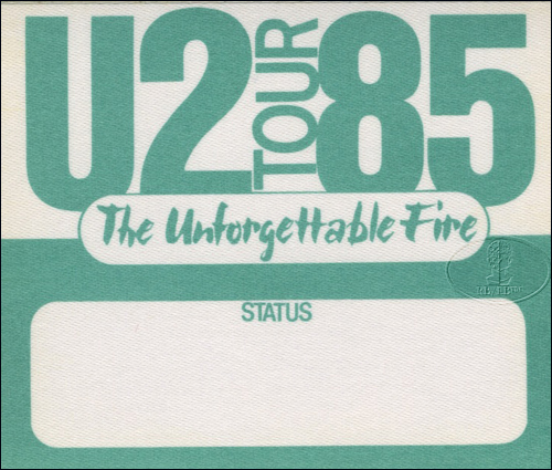 U2 1985 UNFORGETTABLE FIRE BACKSTAGE PASS green