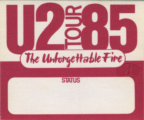 U2 1985 UNFORGETTABLE FIRE BACKSTAGE PASS red