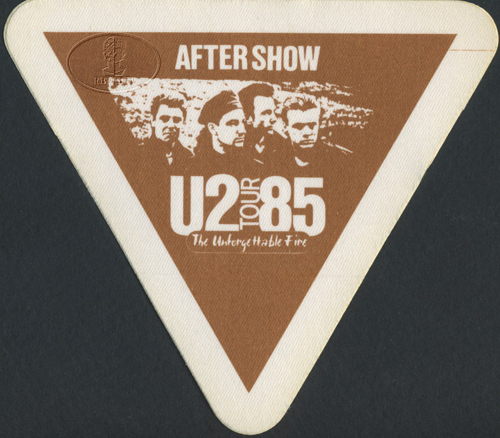 U2 1985 UNFORGETTABLE FIRE BACKSTAGE PASS ASO brn